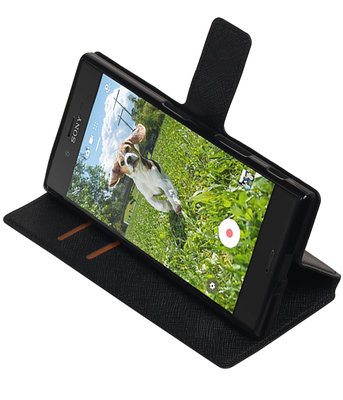 Zwart Hoesje voor Sony Xperia XZ / XZs TPU wallet case booktype HM Book