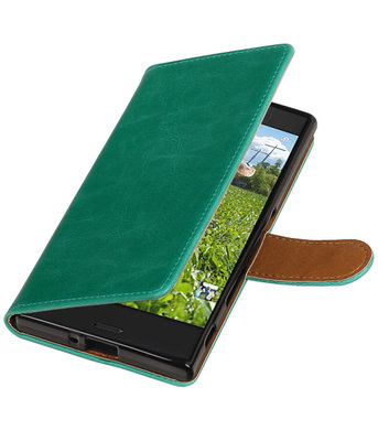 Groen Pull-Up PU booktype wallet cover hoesje voor Sony Xperia XZ / XZs