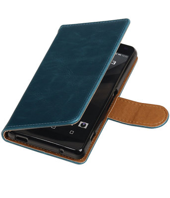 Blauw Pull-Up PU booktype wallet cover hoesje voor Sony Xperia Z3 Compact