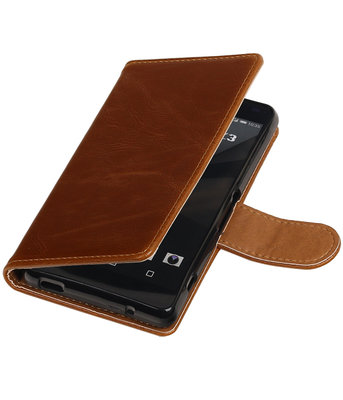 Bruin Pull-Up PU booktype wallet cover hoesje voor Sony Xperia Z3 Compact