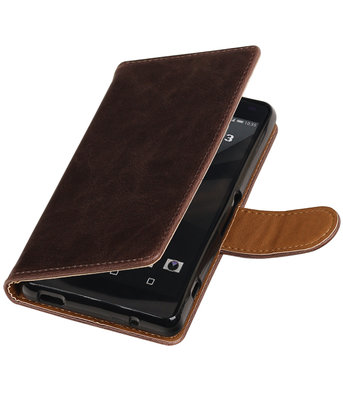 Mocca Pull-Up PU booktype wallet cover hoesje voor Sony Xperia Z3 Compact