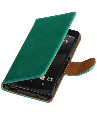 Groen Pull-Up PU booktype wallet cover hoesje voor Sony Xperia Z3 Compact