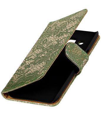 Donker Groen Lace booktype wallet cover voor Hoesje voor Samsung Galaxy J3 2016
