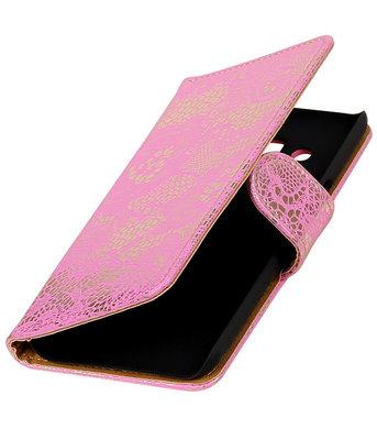 Roze Lace booktype wallet cover voor Hoesje voor Samsung Galaxy J3 2016