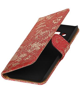 Rood Lace booktype wallet cover voor Hoesje voor Samsung Galaxy J3 2016