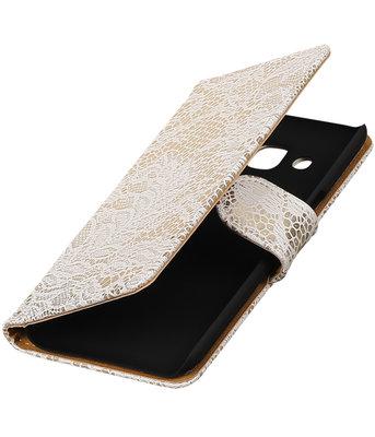 Wit Lace booktype wallet cover voor Hoesje voor Samsung Galaxy J3 2016