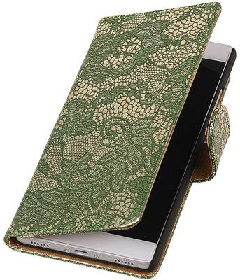 Donker Groen Lace booktype wallet cover hoesje voor Huawei Y5 II