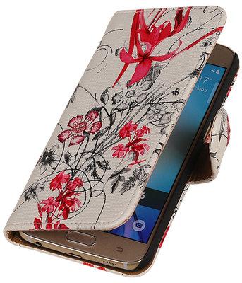 Rood Bloem Booktype wallet voor Hoesje voor Apple iPhone 5 / 5s / SE