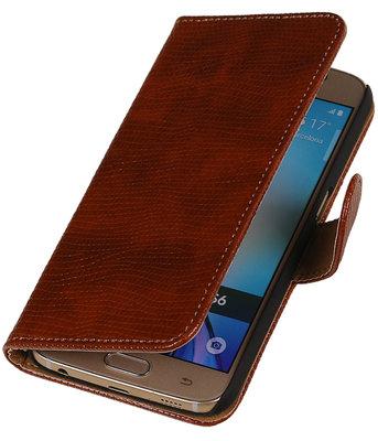 Bruin Mini Slang Booktype wallet hoesje voor Apple iPhone 5 / 5s / SE
