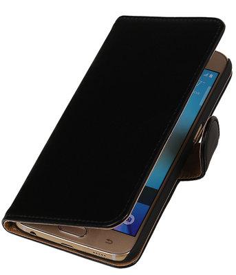Zwart Leder Look Booktype wallet hoesje voor Apple iPhone 5 / 5s / SE