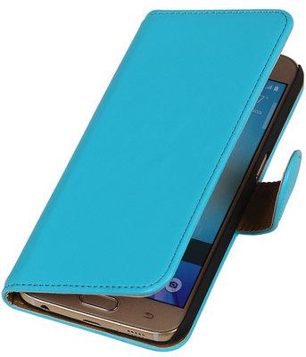 Turquoise Leder Look Booktype wallet hoesje voor Apple iPhone 5 / 5s / SE