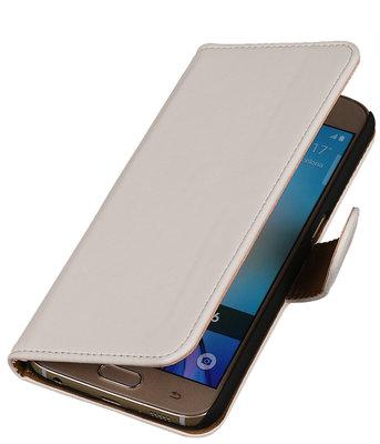 Wit Leder Look Booktype wallet hoesje voor Apple iPhone 5 / 5s / SE