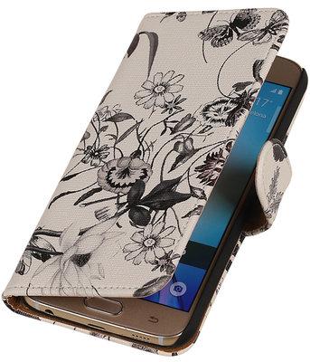Zwart Bloem Booktype wallet voor Hoesje voor Apple iPhone 6 / 6s Plus