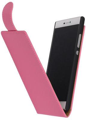 Roze Effen Classic Flip case voor Hoesje voor LG Optimus L3 E400
