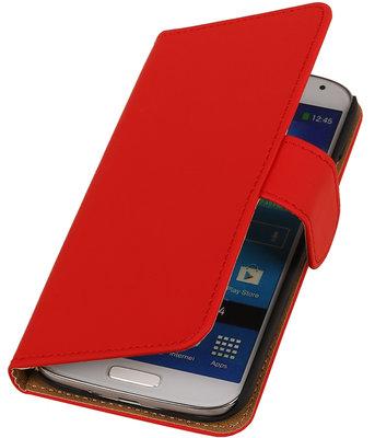 Rood Effen booktype wallet cover hoesje voor Samsung Galaxy S5 Active G870