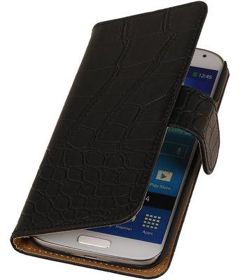 Zwart Krokodil booktype wallet cover hoesje voor Samsung Galaxy S5 Active G870