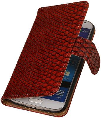 Rood Slang booktype wallet cover hoesje voor Samsung Galaxy S5 Active G870