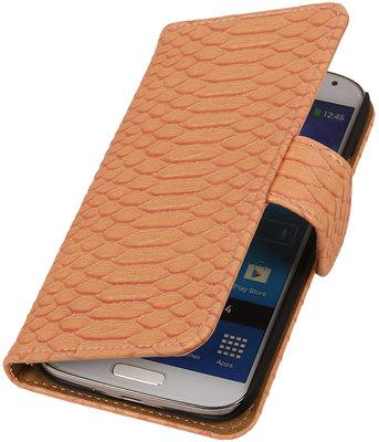 Roze Slang booktype wallet cover hoesje voor Samsung Galaxy S5 Active G870