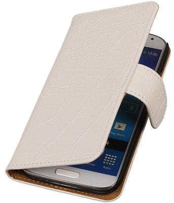 Wit Krokodil booktype wallet cover hoesje voor Samsung Galaxy S4 Active I9295