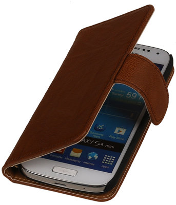 Bruin Echt Leer Leder booktype wallet voor Hoesje voor Huawei Ascend G525