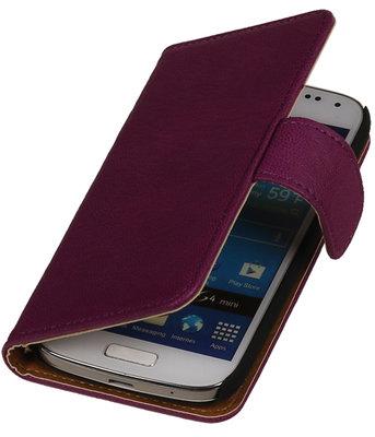 Paars Echt Leer Leder booktype wallet voor Hoesje voor Huawei Ascend G525
