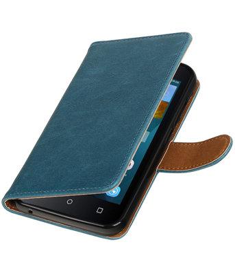 Blauw Pull-Up PU booktype wallet voor Hoesje voor Huawei Y560 / Y5