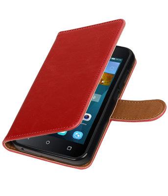 Rood Pull-Up PU booktype wallet voor Hoesje voor Huawei Y560 / Y5