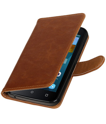 Bruin Pull-Up PU booktype wallet voor Hoesje voor Huawei Y560 / Y5