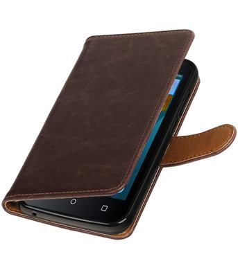 Mocca Pull-Up PU booktype wallet voor Hoesje voor Huawei Y560 / Y5