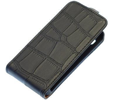 Zwart Krokodil Flip case voor Hoesje voor LG Optimus L5 E610