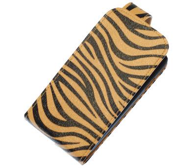 Bruin Zebra Classic Flip case voor Hoesje voor Samsung Galaxy Fame S6810