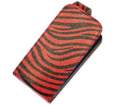 Rood Zebra Classic Flip case voor Hoesje voor Samsung Galaxy Fame S6810
