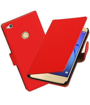 Rood Effen booktype wallet cover voor Hoesje voor Huawei P8 Lite 2017 / P9 Lite 2017