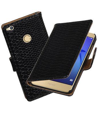 Zwart Slang booktype wallet cover voor Hoesje voor Huawei P8 Lite 2017 / P9 Lite 2017