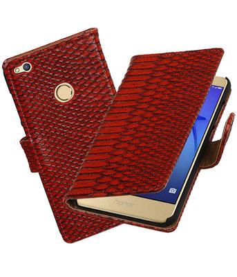 Rood Slang booktype wallet cover voor Hoesje voor Huawei P8 Lite 2017 / P9 Lite 2017