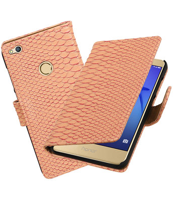 Roze Slang booktype wallet cover voor Hoesje voor Huawei P8 Lite 2017 / P9 Lite 2017
