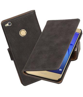 Grijs Hout booktype wallet cover voor Hoesje voor Huawei P8 Lite 2017 / P9 Lite 2017