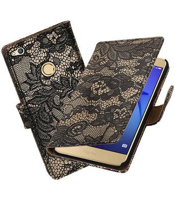 Zwart Lace booktype wallet cover hoesje voor Huawei P8 Lite 2017 / P9 Lite 2017