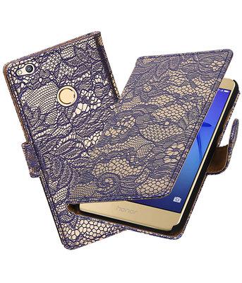 Blauw Lace booktype wallet cover voor Hoesje voor Huawei P8 Lite 2017 / P9 Lite 2017
