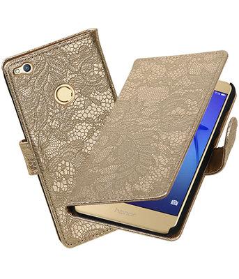 Goud Lace booktype wallet cover voor Hoesje voor Huawei P8 Lite 2017 / P9 Lite 2017