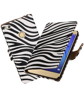 Zebra booktype wallet cover voor Hoesje voor Huawei P8 Lite 2017 / P9 Lite 2017