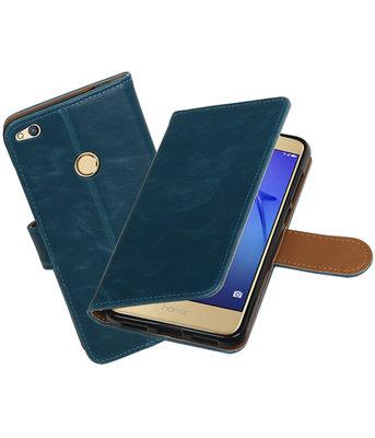 Blauw Pull-Up PU booktype wallet cover voor Hoesje voor Huawei P8 Lite 2017 / P9 Lite 2017