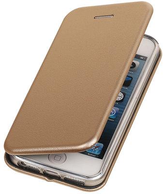 Goud Premium Folio leder look booktype smartphone hoesje voor Apple iPhone 5 / 5s / SE