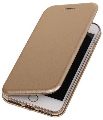 Goud Premium Folio leder look booktype smartphone hoesje voor Apple iPhone 7 / 8