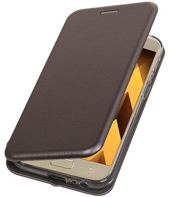Grijs Premium Folio leder look booktype smartphone voor Hoesje voor Samsung Galaxy A3 2017 A320