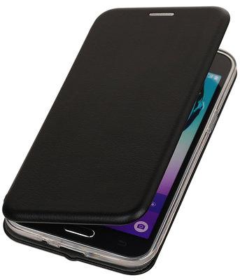 Zwart Premium Folio leder look booktype smartphone voor Hoesje voor Samsung Galaxy J3 2016 J320F