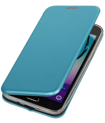 Blauw Premium Folio leder look booktype smartphone voor Hoesje voor Samsung Galaxy J3 2016 J320F