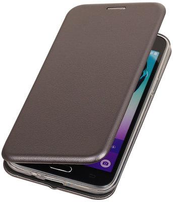 Grijs Premium Folio leder look booktype smartphone voor Hoesje voor Samsung Galaxy J3 2016 J320F