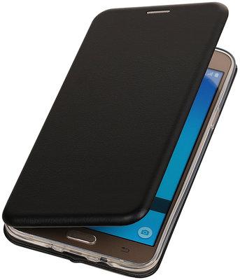 Zwart Premium Folio leder look booktype smartphone hoesje voor Samsung Galaxy J5 2016 J510F