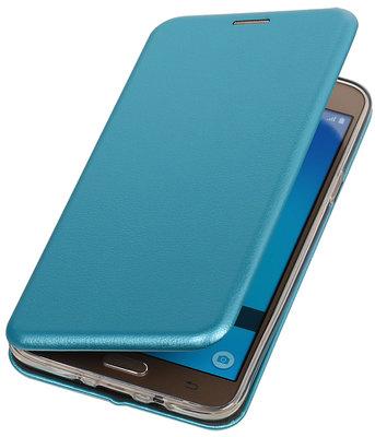 Blauw Premium Folio leder look booktype smartphone voor Hoesje voor Samsung Galaxy J7 2016 J710F